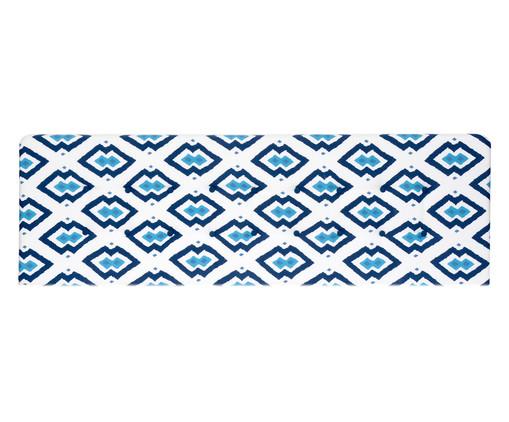 Cabeceira Painel em Linho com Botões West - Azul Geometric, Branco, Azul   WestwingNow