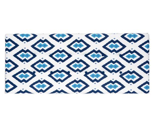 Cabeceira Painel em Linho com Botões West Geometric - Azul, Branco, Azul | WestwingNow