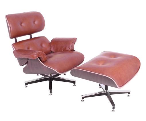 Poltrona com Pufe em Couro Charles Eames - Caramelo, Preto, Colorido | WestwingNow