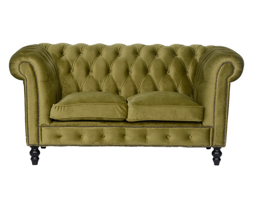 Sofá Chesterfield em Veludo - Verde Vintage, Amarelo | WestwingNow