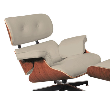 Poltrona e Pufe em Couro Charles Eames - Pérola e Caramelo | WestwingNow
