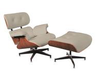 Poltrona com Pufe em Couro Charles Eames - Pérola e Caramelo | WestwingNow