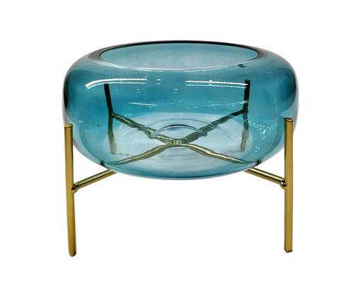 Vaso de Vidro Sicupira - Azul e Dourado, Azul, Dourado | WestwingNow