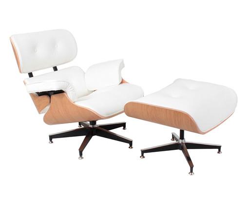 Poltrona com Pufe em Couro Ecológico Charles Eames - Branca, branco,madeira   WestwingNow