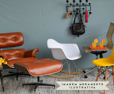Poltrona e Pufe em Couro Ecológico Charles Eames - Branca e Imbuia | WestwingNow