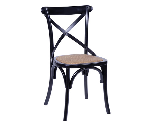 Cadeira de Madeira Wood Cross - Preta, Preto, Colorido | WestwingNow