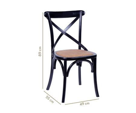 Cadeira de Madeira Wood Cross - Preto   WestwingNow