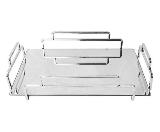 Bandeja Decorativa de Metal Espelhada Mason - Prata, Prata / Metálico, Espelhado | WestwingNow