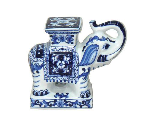 Adorno Nick em Cerâmica - Azul e Branco, Branco, Colorido | WestwingNow