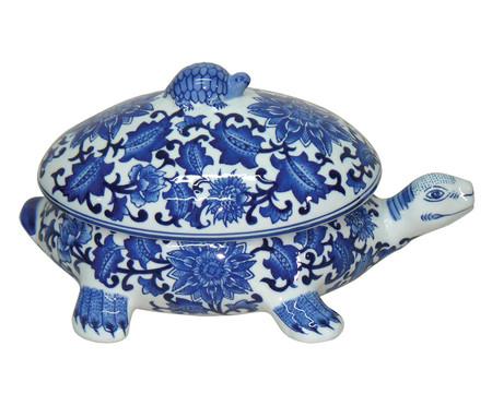 Pote Decorativo em Porcelana Tartaruga - Azul e Branco | WestwingNow