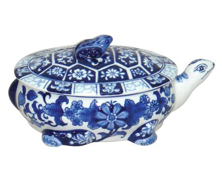 Pote Decorativo em Porcelana Tortuga - Azul e Branco | WestwingNow