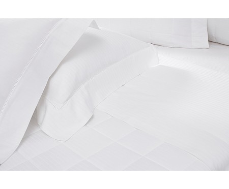 Jogo de Lençol Damask Stripes Branco - 300 Fios | WestwingNow