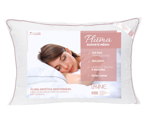 Travesseiro Pluma Sintética Brown - Branco, Branco | WestwingNow