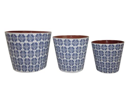 Jogo de Cachepots Misty - Azul e Branco, Branco, Azul | WestwingNow