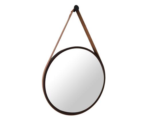 Espelho de Parede Redondo com Alça Adnet Strap - Marrom e Caramelo, Marrom | WestwingNow