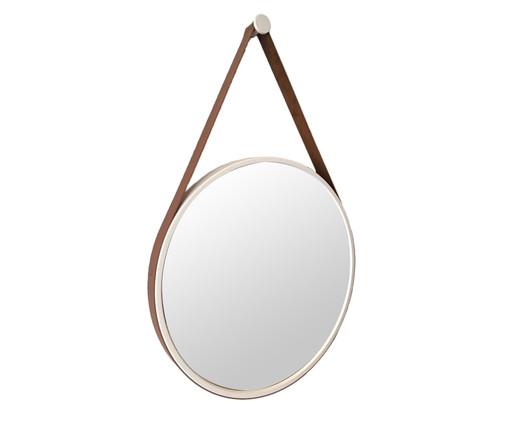 Espelho de Parede Redondo com Alça Adnet Strap - Branco e Caramelo, Branco | WestwingNow