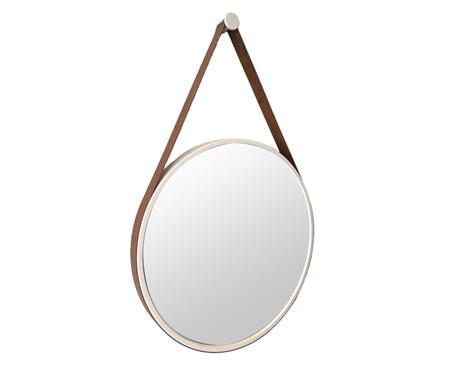 Espelho de Parede Redondo com Alça Adnet Strap - Branco e Caramelo | WestwingNow