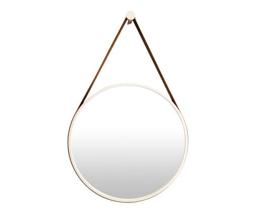 Espelho com Alça Adnet Strap - Branco e Caramelo, Branco | WestwingNow