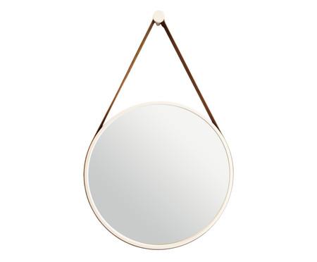 Espelho com Alça Adnet Strap - Branco e Caramelo | WestwingNow