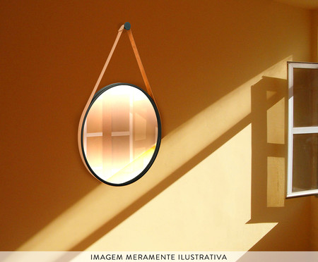 Espelho de Parede Redondo com Alça Adnet Strap - Preto e Caramelo | WestwingNow