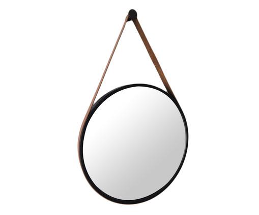 Espelho de Parede Redondo com Alça Adnet Strap - Preto e Caramelo, Colorido | WestwingNow