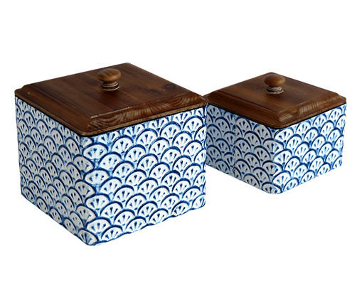 Jogo de Potes Vicky - Azul e Marrom, Branco, Azul | WestwingNow