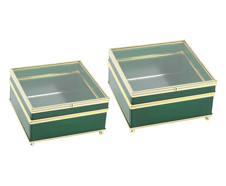 Jogo de Caixas Decorativas de Vidro Be - Verde | WestwingNow