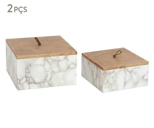 Jogo de Caixas de Madeira Céleste - Cinza e Marrom, Cinza, Branco | WestwingNow
