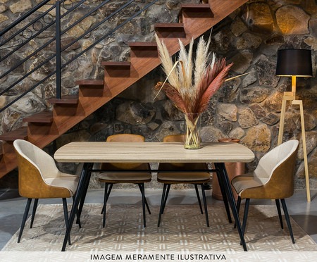 Mesa de Jantar Retangular Lichia P - Preto | WestwingNow