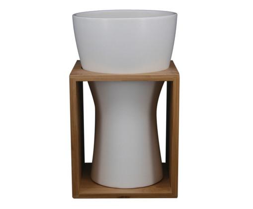 Vaso Cerâmica Jeniffer - Branco e Marrom, Branco, Marrom | WestwingNow