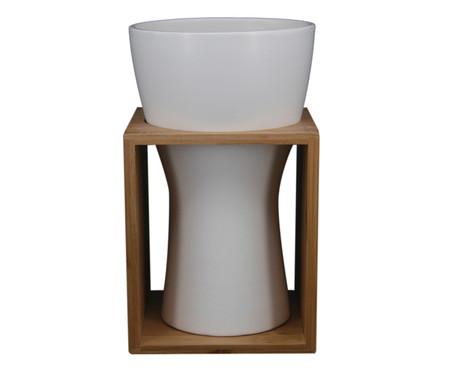 Vaso Cerâmica Jeniffer - Branco e Marrom | WestwingNow
