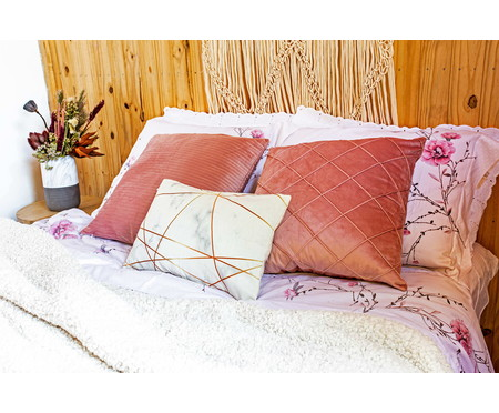Almofada de Veludo Imira  Rosa - 50x50cm | WestwingNow