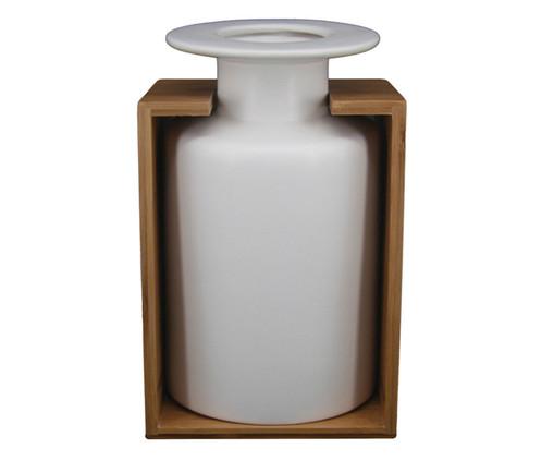 Vaso de Cerâmica e Madeira Luan - Branco e Marrom, Branco, Marrom | WestwingNow