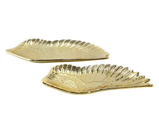 Jogo de Pratos Decorativos Asa - Dourado, Dourado | WestwingNow
