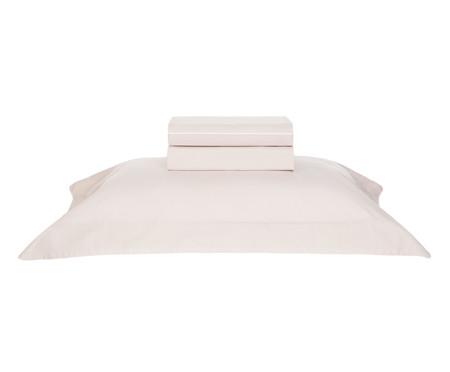 Jogo de Lençol de Algodão Filetti Soft 200 Fios - Rosé e Branco | WestwingNow