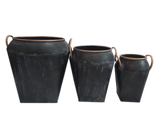 Jogo de Vasos de Piso Naomi - Preto, Preto | WestwingNow
