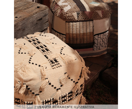 Pufe Tassel - Natural e Preto | WestwingNow