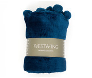 Manta com Pompom Crux - Azul Marinho | WestwingNow