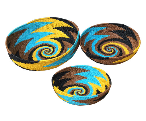 Jogo de Cestos Organizadores Luan - Colorido, Marrom, Amarelo, Azul | WestwingNow