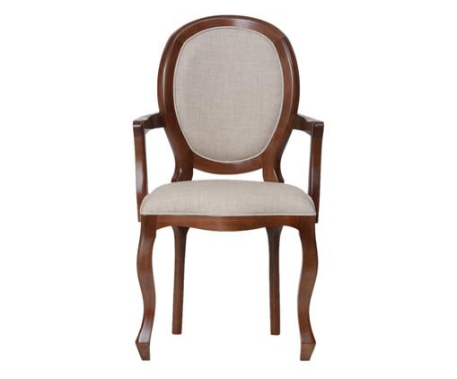 Cadeira com Braços em Madeira e Linho Medalhão Pierce - Natural, Natural | WestwingNow