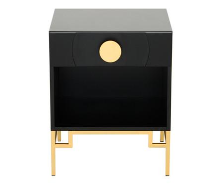 Mesa de Cabeceira Cerchio D'Oro com Nicho - Preta | WestwingNow