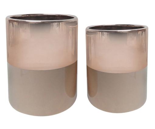 Jogo de Vasos de Cerâmica Mira - Rosé e Marrom, Rosa, Rosé | WestwingNow
