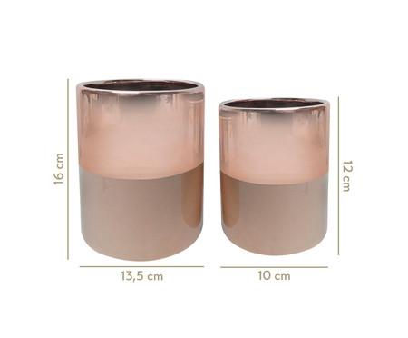 Jogo de Vasos de Cerâmica Mira - Rosé e Marrom | WestwingNow
