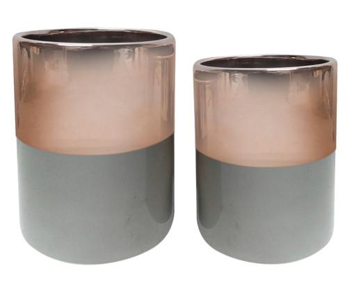 Jogo de Vasos de Cerâmica Naava - Rosé e Cinza, Cinza, Rosa, Rosé | WestwingNow