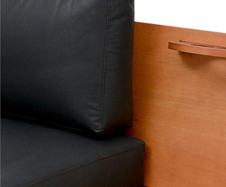 Sofá Elis em Couro Sintético - Caramelo e Preto | WestwingNow