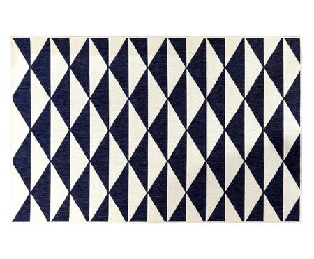 Tapete Dupla Face Kayla Ivy - Branco e Azul | WestwingNow