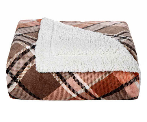 Cobertor Sherpa Slim Xadrez - Vermelho, Vermelho | WestwingNow