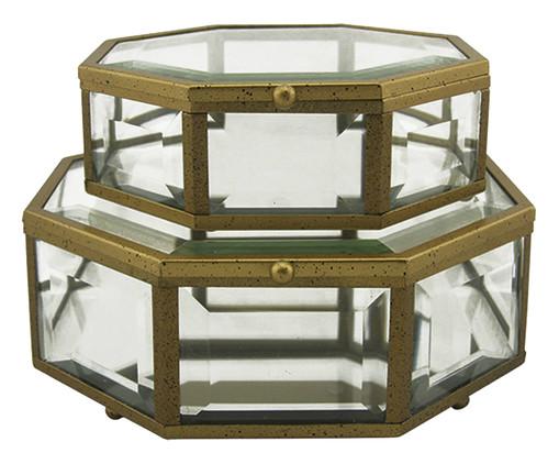 Jogo de Caixas James - Transparente e Dourado, Dourado, Transparente   WestwingNow