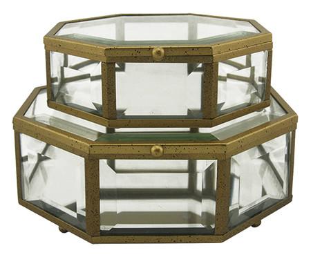 Jogo de Caixas James - Transparente e Dourado | WestwingNow
