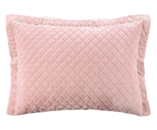Porta-Travesseiro Plush Losango Inove Liso - Rosa, Rosa Argila | WestwingNow